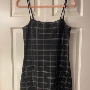 Black plaid mini dress